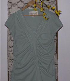 AVENTURA Women's Green Organic Cotton Side Ruched Short Sleeve Top Size XL #Aventura #KnitTop #Casual