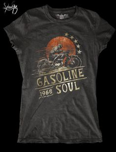 GASOLINE SOUL  Motorcycle T Shirt  Cafe Racer  by SpeedThirteen