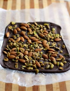 Easy last minute dark chocolate almond and pistachio bark