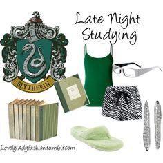 """Slytherin Late Night Studying"" by sad-samantha on Polyvore"
