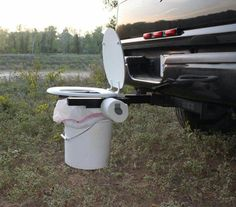Camping toilet from a trailer hitch