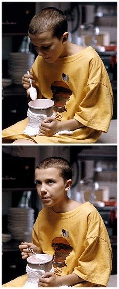 You like that ice cream, huh? #stranger things #eleven #1.01