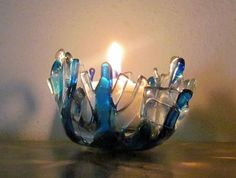 Fused Glass Votive Candle Holder  $18.00 USD