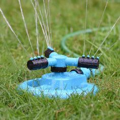 Lawn Sprinkler Oak Leaf Adjustable Spray 360 Degree Automatic Three Arm Water Sprinkler for Garden Home or Farm Irrigation Blue : Patio Lawn & Garden