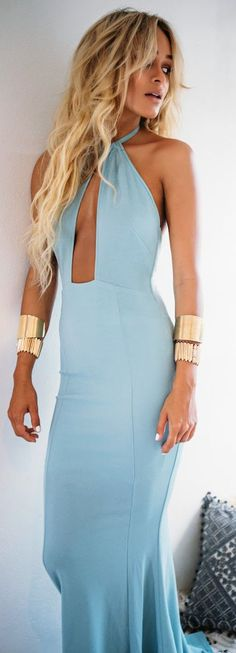 Baby Blue Halter Maxi Inspiration Dress by Sabo Skirt