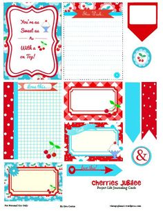 Free Cherries Jubilee Journal Cards and Elements for Project Life