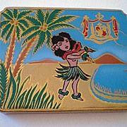 Vintage Hawaiian Compact With Hula Girl & Royal Crest Circa Hawaiian Art, Vintage Hawaiian, Vanity Box, German Women, Lipstick Holder, Half Dolls, Hula Girl, Tropical Paradise, Vintage Beauty
