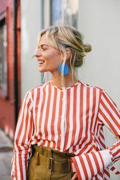 We love this striped boyfriend style shirt.