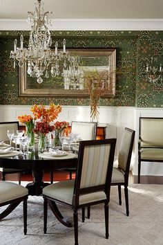 Sarah Richardson Design photograph by Stacey Brandford I love the William Morris wallpaper in this room.  And the idea of a darker dining room.  And that ceiling colour is spot on.