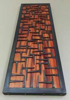 Wood Wall Art- Wood and Metal Wall Art Sculpture – Welded Steel Nails, Copper, & Ribboned African Mahongany Accent Piece (Medium Size) - Metal Art Metal Sculpture Wall Art, Metal Tree Wall Art, Steel Sculpture, Metal Wall Art, Wood Art, Mirror Wall Art, Metal Artwork, Wood Mosaic, Mosaic Wall