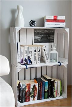 An Old Painted Wooden Crates Bookcase
