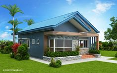 Another concept of three bedroom Bungalow House plan with total floor area of 82 square meters is conceptualized with blue color combinations. Roof is pale blue long span ribbed type Modern Bungalow House Design, House Roof Design, Small Bungalow, Small House Design, Little House Plans, New House Plans, Small House Plans, Bungalow Floor Plans, Three Bedroom House Plan