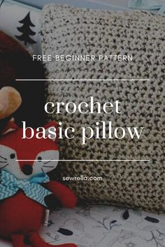 My crochet pillow is the perfect home decor project for absolute beginners using an easy, basic stitch. The free pattern also includes a tutorial about how to cross stitch any design or phrase onto your finished piece! Modern Crochet Patterns, Loom Patterns, Knitting Patterns, Afghan Patterns, Square Patterns, Free Knitting, Crochet Crafts, Crochet Yarn, Crochet Projects