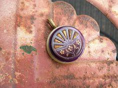 vintage button pendant eggplant purple by Suddendeersighting, $21.00