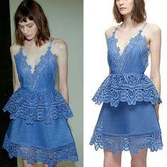 Self-Portrait Dresses - 🌺Self-Portrait lace trimmed peplum in cornflower Forever New Dress, Self Portrait Dress, Lace Trim, Bodice, Peplum, Brand New, V Neck, Deep, Formal Dresses