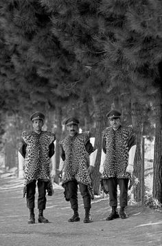 Teheran. 1960. Members of the Shah's elite troups in leopard skin uniforms.