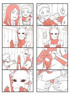 Kushina, little Naruto, and ANBU Kakashi Naruto Minato, Naruto Comic, Anime Naruto, Kakashi Sensei, Naruto Cute, Naruto Funny, Naruto Shippuden Anime, Boruto, Gaara