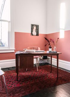 My Terracotta Home Office - imagens de French By Design Half Painted Walls, Two Tone Walls, Modern Home Offices, Coral Walls, Interior Architecture, Interior Design, Room Colors, Bedroom Wall, Living Room Decor
