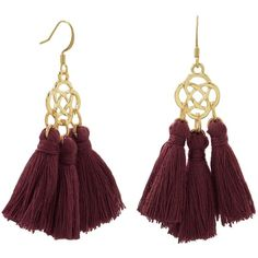 Gold tone fashion earrings with burgandy threaded tassels ($16) ❤ liked on Polyvore featuring jewelry, earrings, gold colored earrings, fringe tassel earrings, tassle earrings, gold colored jewelry and celtic jewelry