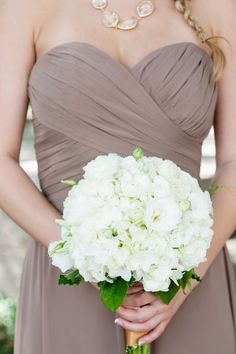 White Hydrangea Bouquet | Purple Bridesmaids Dress | Strapless Dress | Bouquets of Austin | Kristi Wright Photography | Pearl Events Austin