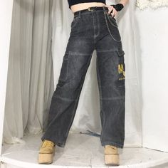 89e29dc2be5c4 Cutest 90s faded black high waist wide leg jeans with cargo - Depop