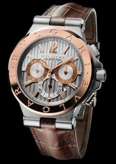 Mens Luxury Watches Ceramic Bezel Sapphire Glass Luminous Quartz Silver Gold Two Tone Stainless Steel Watch (Gold Blue) – Fine Jewelry & Collectibles Bvlgari Diagono, Bvlgari Watches, Herren Chronograph, Tourbillon Watch, Brown Leather Strap Watch, Watches Photography, Hand Watch, Cool Watches, Stylish Watches