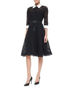 3/4-Sleeve Lace Cocktail Shirtdress with Embellished Buckle Belt by Rickie Freeman for Teri Jon at Neiman Marcus.