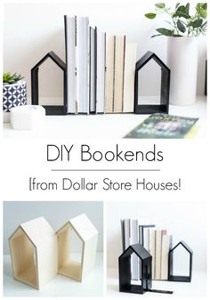 Home Decor organization DIY Bookends [a Dollar Store DIY Love these DIY bookends! An easy budget-friendly DIY to help you organize your life, that uses simple dollar store houses. Love the modern look of this simple DIY home decor! Diy Home Decor Easy, Easy Diy Crafts, Cheap Home Decor, Diy Craft Projects, Decor Crafts, Diy Love, Shabby Chic Vintage, Boho Home, Of Wallpaper