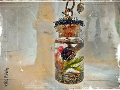 Memento Mori real insect specimen natural finds moss and preserved flowers diorama Cabinet of Curiosities mini vial necklace by Wild Pearly via Etsy. Vial Necklace, Preserved Flowers, Insect Art, Tiny World, Glass Vials, Zen Art, How To Preserve Flowers, Memento Mori, Bead Caps