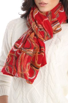 Embroidered Wool Scarf In Red.