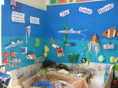 Fabulous display about the Great Barrier Reef - Harewood CE Primary School Classroom Walls, Classroom Themes, Classroom Activities, Kindergarten Classroom, Primary Classroom, Preschool Ideas, Primary School, Hallway Displays, School Displays