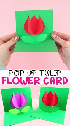 How to Make a Pop Up Flower Card Easy Spring Tulip Craft for kids! is part of Spring crafts for kids - Use our free template to create this easy pop up flower card for a spring kids craft Simple Mother's Day card or Valentine's Day card for kids to make Mothers Day Crafts For Kids, Spring Crafts For Kids, Paper Crafts For Kids, Preschool Crafts, Easter Crafts, Holiday Crafts, Fun Crafts, Art For Kids, Diy And Crafts