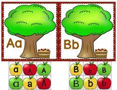 Aprender abecedario manzanas y árboles. En color y en blanco y negro