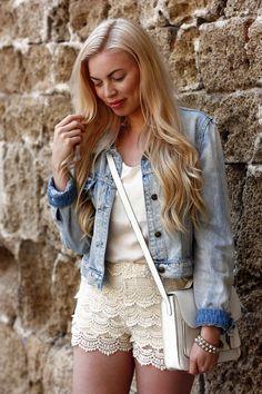 Denim jacket, Asos / lace shorts, Zara / jewelry, H&M