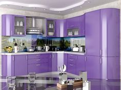 Одноклассники Purple Kitchen Cabinets, Kitchen Cabinet Interior, Kitchen Cabinet Colors, Kitchen Colors, Interior Design Kitchen, Home Bar Designs, Best Kitchen Designs, Modern Kitchen Design, Kitchen Wall Units