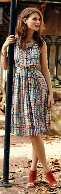 Anthropologie Sun Checked Shirt Dress