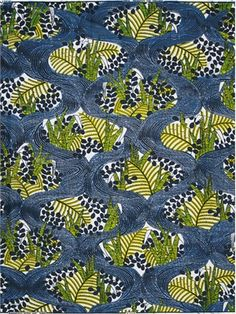 Ferns peeking out from behind a wavy trellis - Vlisco - Silent Empire - Real Dutch Wax Block Print.