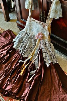 Boho Romantic Parisian Dress Florals n Lace French Bell Epoque Inspired Shabby Chic Ruffled Vintage Trim