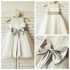 A-line+Knee-length+Flower+Girl+Dress+-+Chiffon+/+Tulle+Sleeveless+–+USD+$+59.99