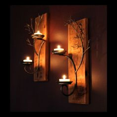 Matching set of two candle metal tree sculpture wall sconce on reclaimed wood base for votive and tea candles Tree Sculpture, Wall Sculptures, Candle Sconces, Wall Sconces, Metal Tree Wall Art, Tree Wall Decor, Metal Candle Holders, Tea Light Candles, Votive Candles