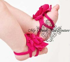 Baby Bare Foot Sandals Hot Pink Soft & by MySweetPeaCouture, $5.50