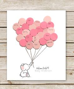 Free Printable Balloon Elephant Baby Shower Guest Book for either a baby boy or baby girl! So adorable and a great alternative to the standard guest book.