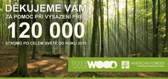 Od roku 2010 WeWOOD vysadil přes 120 000 stromů. Za Českou republiku je to více než 1 000 stromů.