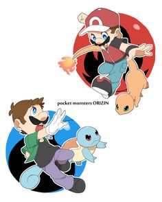 Mario and Luigi Pokémon [pixiv] Super Mario Brothers, Super Mario Bros, Super Mario Kunst, Super Mario World, Super Smash Bros, Mario Und Luigi, Mario Bros., Mario Video Game, Video Games