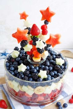 This edible Fruit Salad Centerpiece is so much fun to make … and to eat! Surpr… This edible Fruit Salad Centerpiece is so much fun to make … and to eat! Surprise … it's really easy, too! Watermelon Bowl, Blue Fruits, Fruit Salad Recipes, Acai Bowl, 4th Of July, Centerpieces, Treats, Breakfast, Healthy