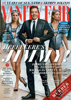 Jimmy Fallon is flanked by Alessandra Ambrosio and Doutzen Kroes for the February 2014 cover of Vanity Fair, shot by Annie Leibovitz.