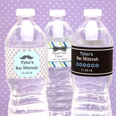 Bar Mitzvah Personalized Water Bottle Label - 12 pcs - Bar Mitzvah & Bat Mitzvah Party Favors - Other Occasions - Wedding Favors & Party Supplies - Favors and Flowers