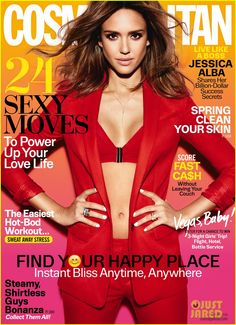 Jessica Alba looks red-hot on the March 2016 cover of Cosmopolitan Magazine, wearing a red jacket, pants and bra top. Photographed by Tesh… Ashton Kutcher, Jessica Alba Dress, Divas, Move In Cleaning, Cosmopolitan Magazine, Instyle Magazine, Maxim Magazine, Baby Workout, Red Bra