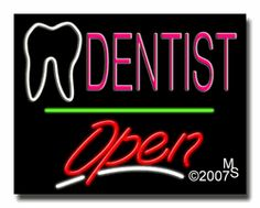 """Dentist, Logo Open Neon Sign - Script Text - 24""""x31""""-ANS1500-0498-3g  31"""" Wide x 24"""" Tall x 3"""" Deep  Sign is mounted on an unbreakable black or clear Lexan backing  Top and bottom protective sides  110 volt U.L. listed transformer fits into a standard outlet  Hanging hardware & chain included  6' Power cord with standard transformer  Includes 2nd transformer for independent OPEN section control  For indoor use only  1 Year Warranty on electrical components."""