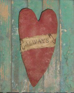 Primitive painted & stamped Valentine heart tucks or bowl fillers by Prairie Primitives Folk Art, $12.00 each